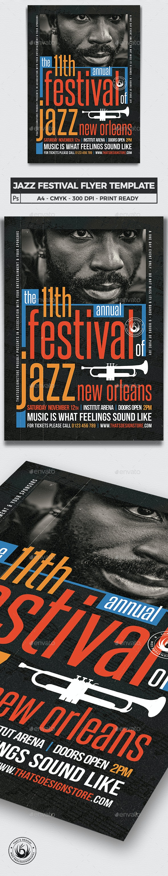 Jazz Festival Flyer Template V10 - Concerts Events