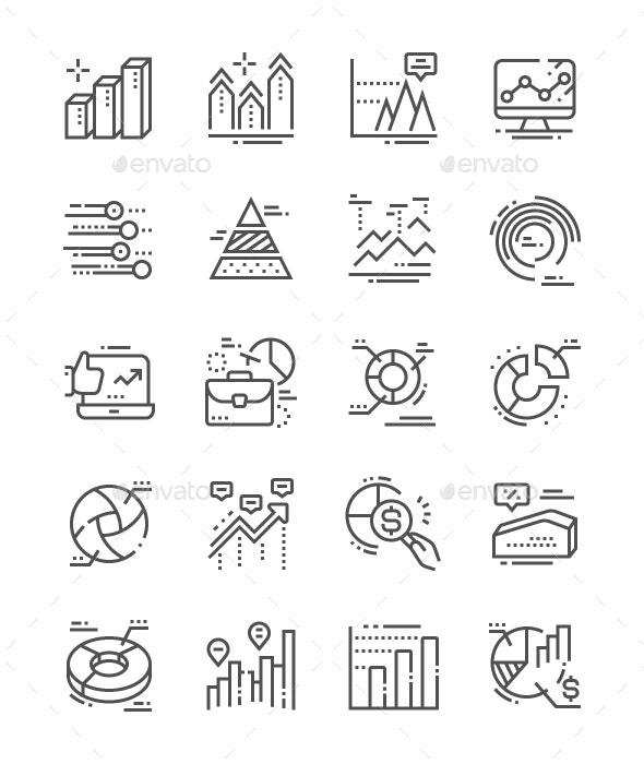 Charts Line Icons - Business Icons