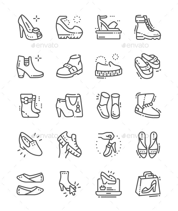 Women's shoes Line Icons - Miscellaneous Characters