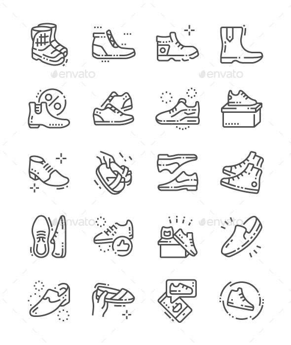 Men's footwear Line Icons - Miscellaneous Characters
