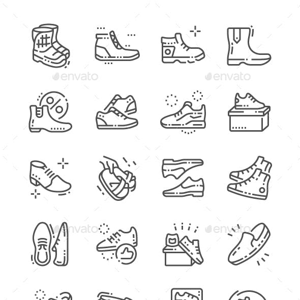 Men's footwear Line Icons