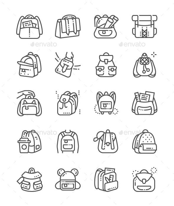 Backpacks Line Icons - Seasonal Icons