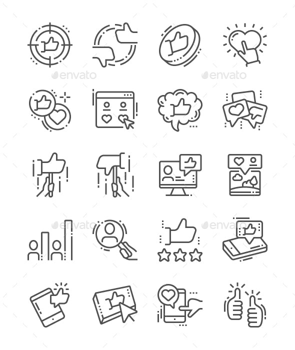 Votes Line Icons - People Characters
