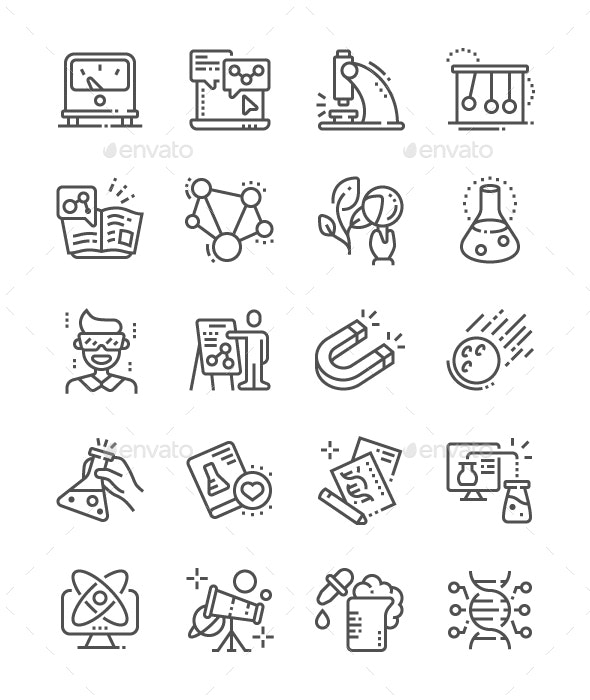 Science Line Icons - Miscellaneous Characters