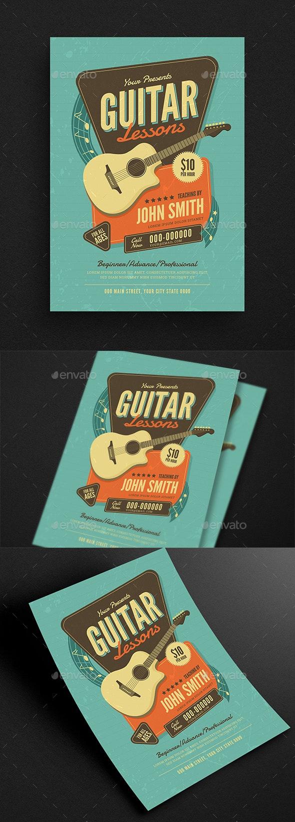 Guitar Lessons Flyer - Flyers Print Templates