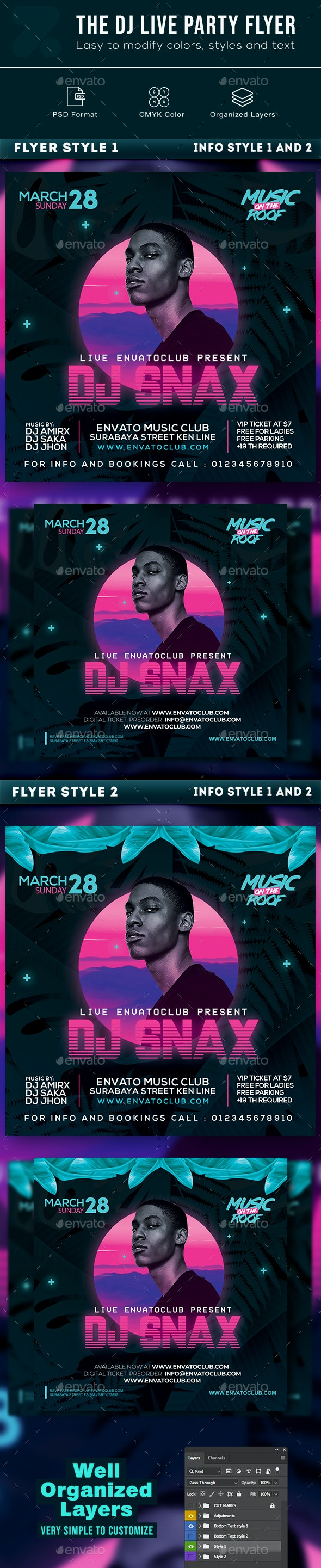 The Dj Live Party Flyer - Events Flyers