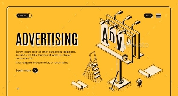 Advertising Company Isometric Vector Web Banner - Industries Business