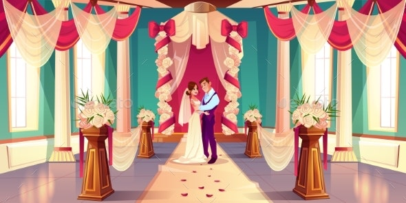 Newlyweds on Wedding Ceremony Cartoon Vector - Weddings Seasons/Holidays
