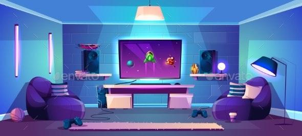 Vector Game Room Illustration Modern Esports - Backgrounds Decorative