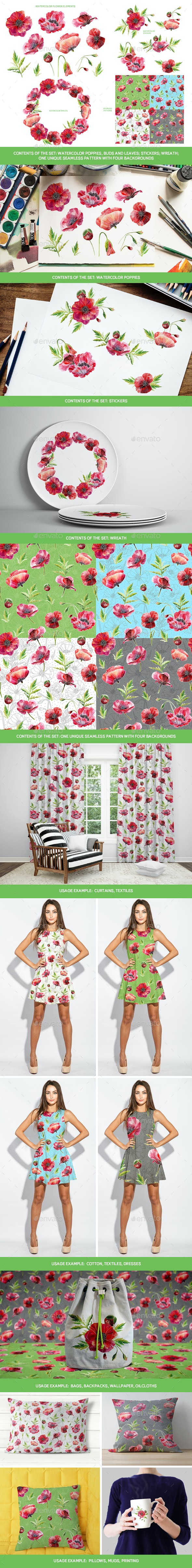 Set of the Poppies: Watercolor Flowers, Wreath, Stickers and Seamless Patterns