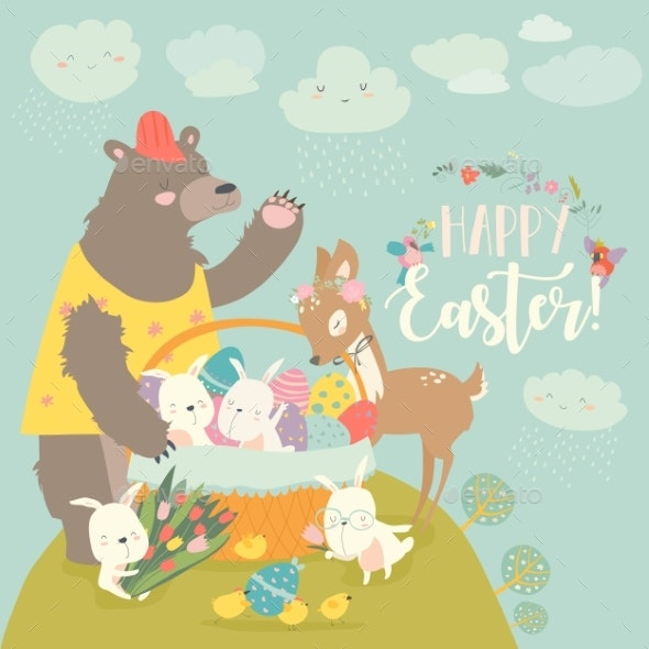 Bear and Rabbits with Little Deer - Miscellaneous Seasons/Holidays