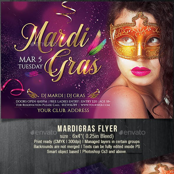 Masquerade Mardi Gras Party Flyer