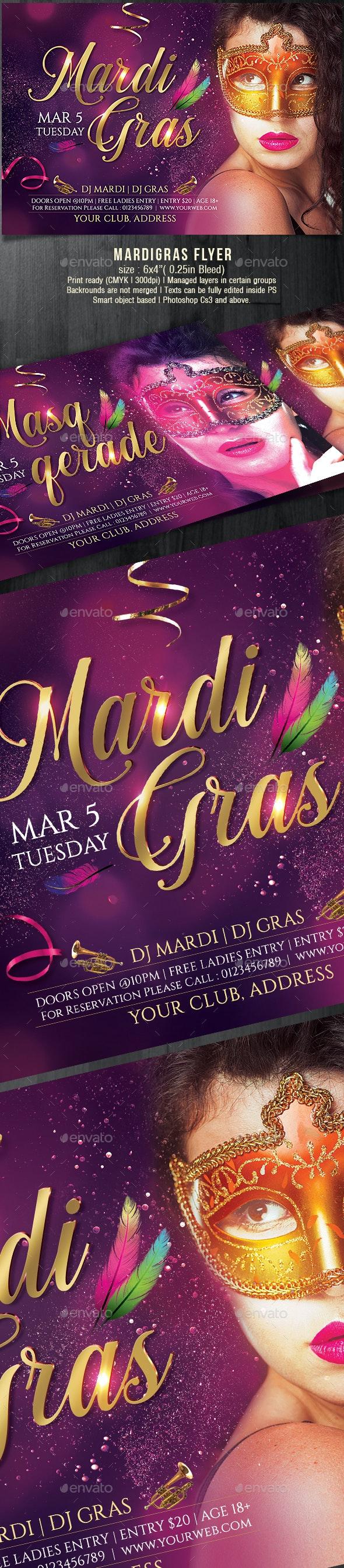 Masquerade Mardi Gras Party Flyer - Holidays Events