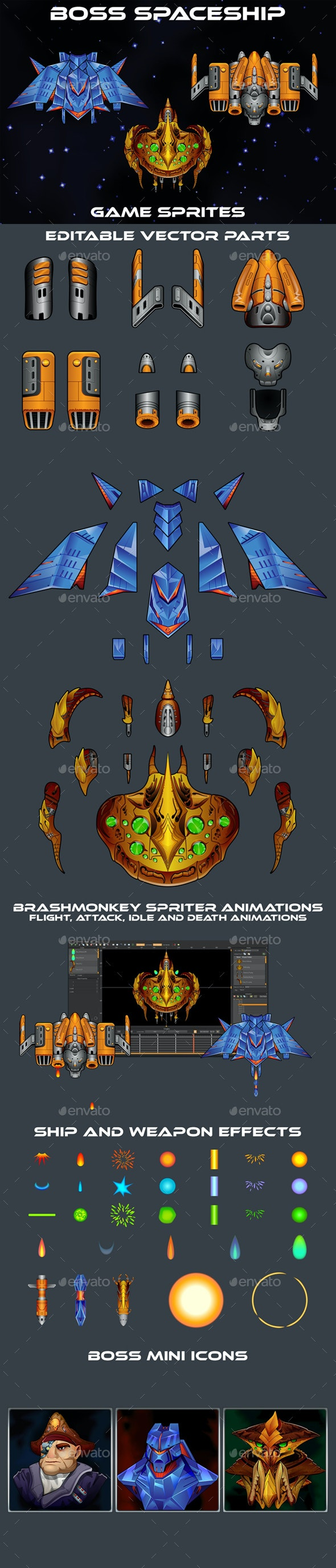 Boss SpaceShip 2D Sprites - Sprites Game Assets