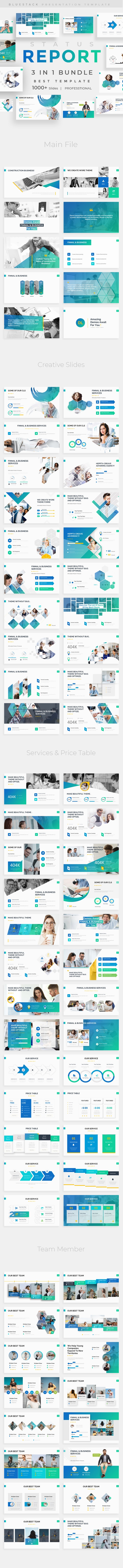 Status Report 3 in 1 Pitch Deck Bundle Google Slide Template - Google Slides Presentation Templates