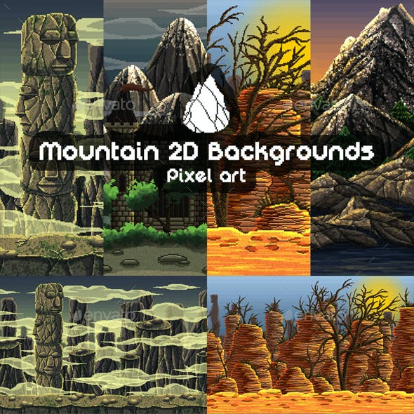 2D Game Mountain Backgrounds Pixel Art