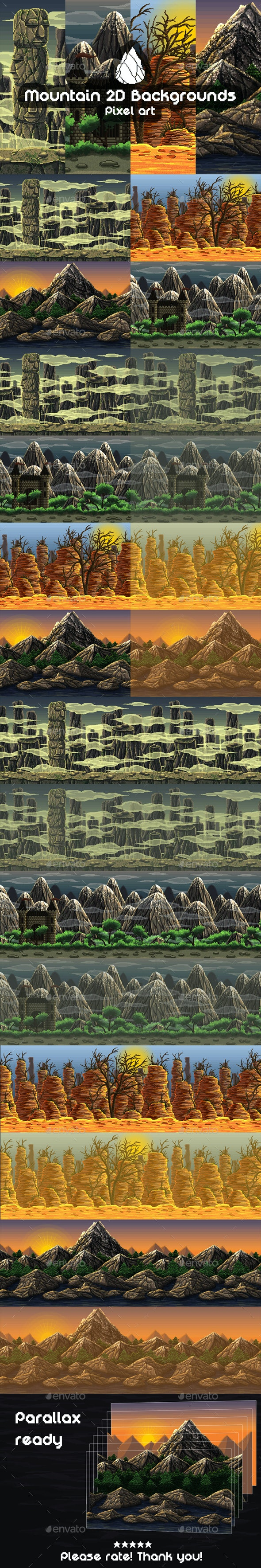 2D Game Mountain Backgrounds Pixel Art - Backgrounds Game Assets