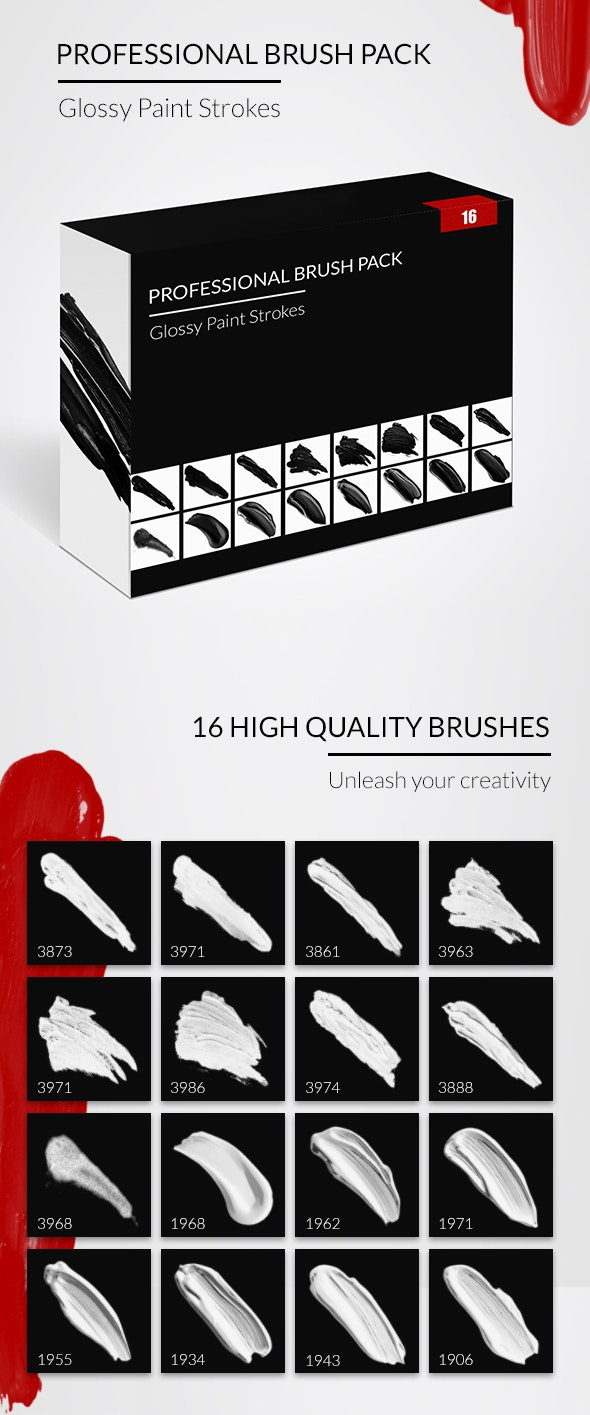 Professional Brush Pack - Glossy Paint Strokes - Artistic Brushes