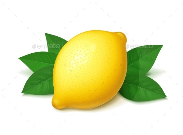 Lemon with Green Leaf - Food Objects