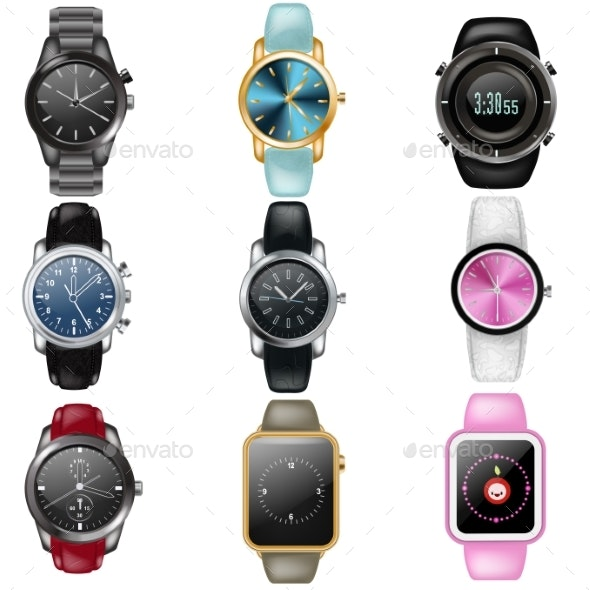 Watch Vector Business Wristwatch or Fashion Wrist - Man-made Objects Objects