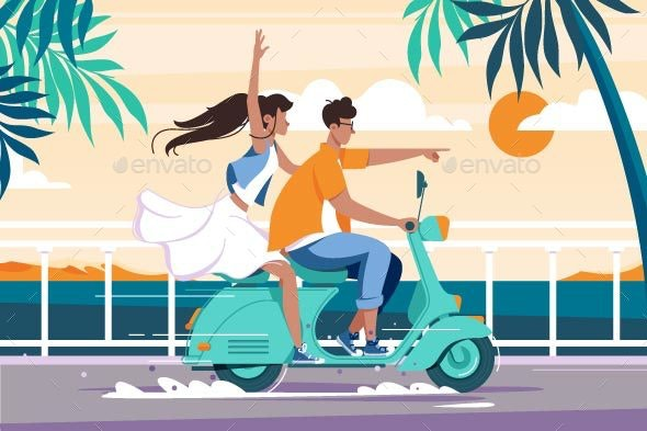 Flat Man and Woman Couple Riding on Motorbike - Man-made Objects Objects