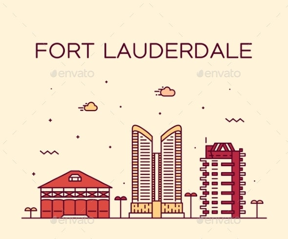Fort Lauderdale Skyline Florida USA Vector Linear - Buildings Objects