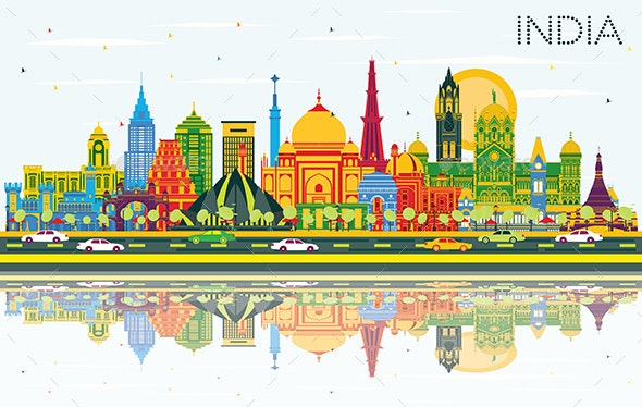 India City Skyline with Color Buildings - Buildings Objects