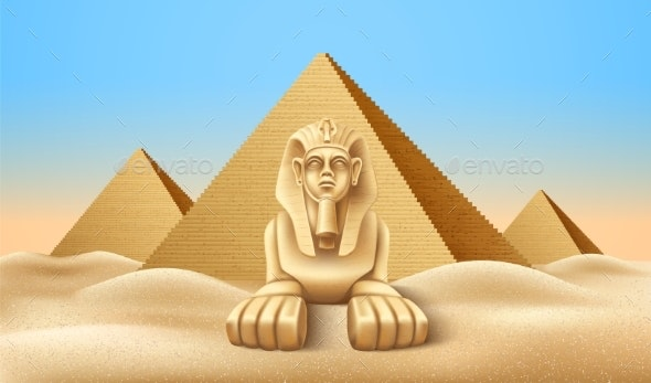 Vector Egypt Pyramid and Sphinx Landmark Realistic - Buildings Objects