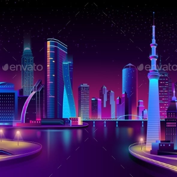 Vector Modern City on River at Night