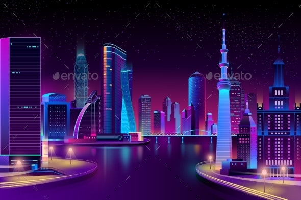 Vector Modern City on River at Night - Buildings Objects