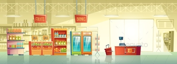 Vector Background of Empty Supermarket Shop - Backgrounds Decorative