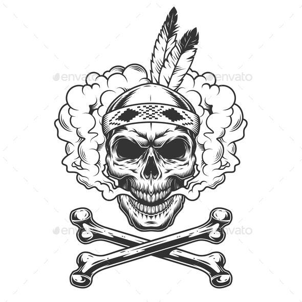 Vintage Warrior Skull - Miscellaneous Vectors