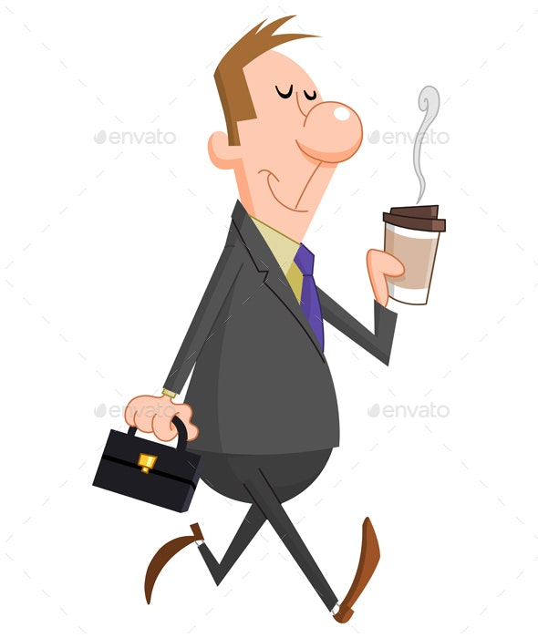 Businessman with Coffee - People Characters