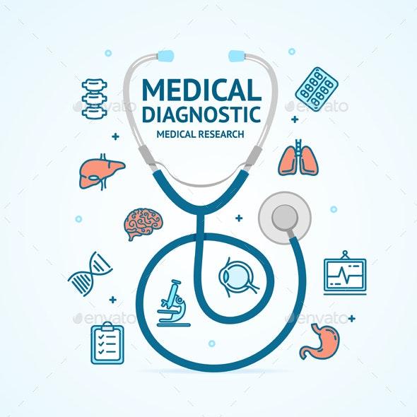 Medical Diagnostics Concept and Thin Line Icons - Health/Medicine Conceptual
