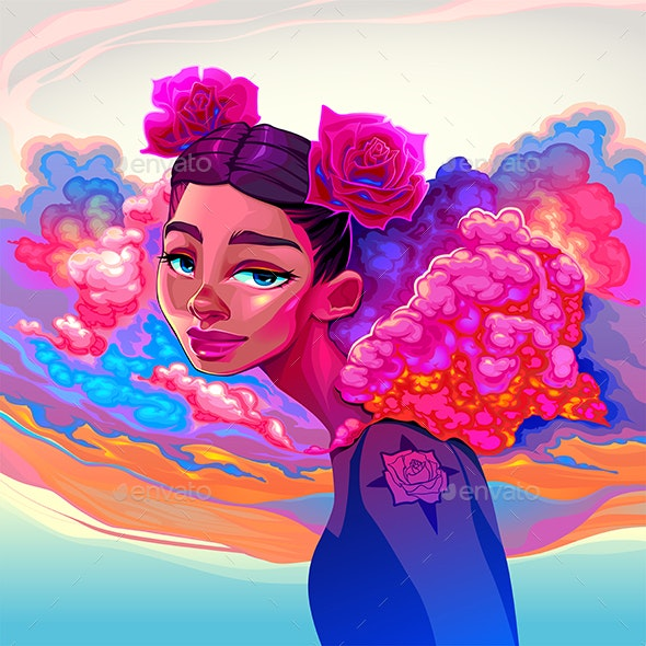 Girl with Clouds and Roses in the Hair - People Characters