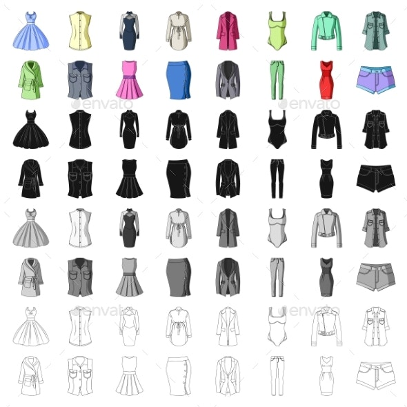 Women's Clothing Cartoon Icons in Set Collection - Man-made Objects Objects