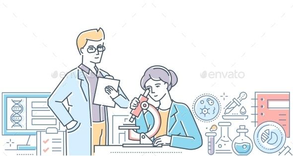 Medical Laboratory - Modern Line Design Style - Health/Medicine Conceptual
