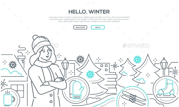 Hello Winter - Modern Line Design Style Web - Seasons Nature