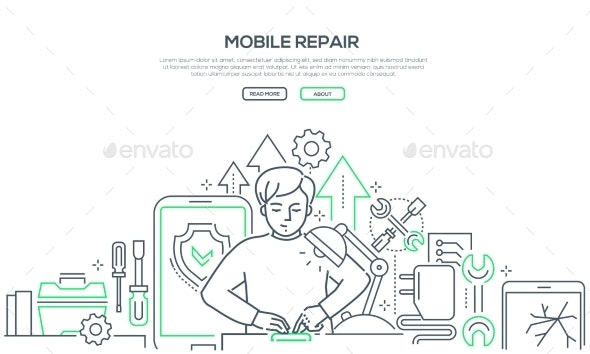 Mobile Repair Service - Modern Line Design Style - Computers Technology