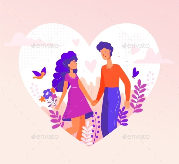 Romantic Couple - Modern Flat Design Style - People Characters