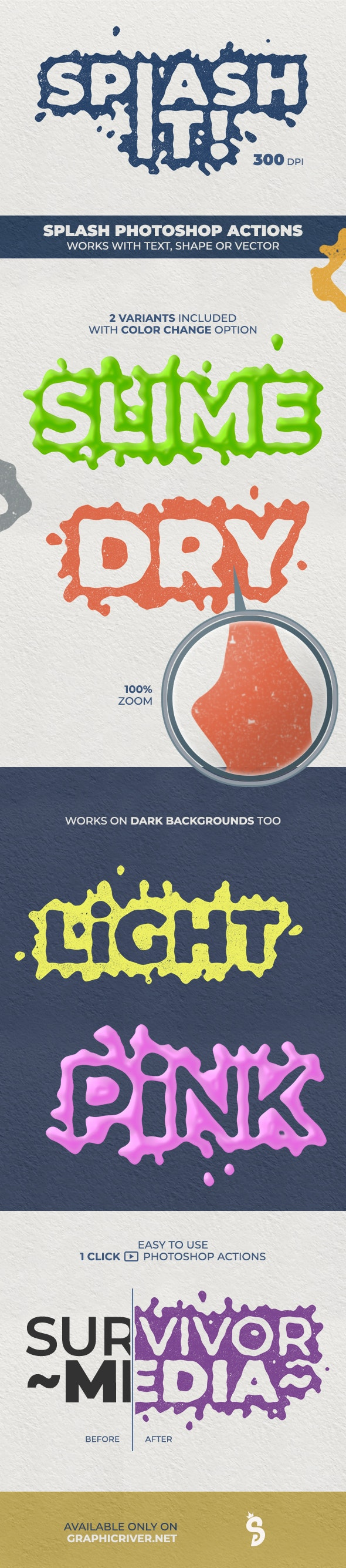 Splash Text Photoshop Actions - 300 DPI - Text Effects Actions