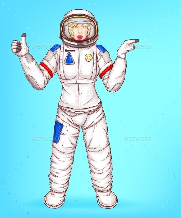 Vector Pop Art Spacewoman Points To Sales - People Characters
