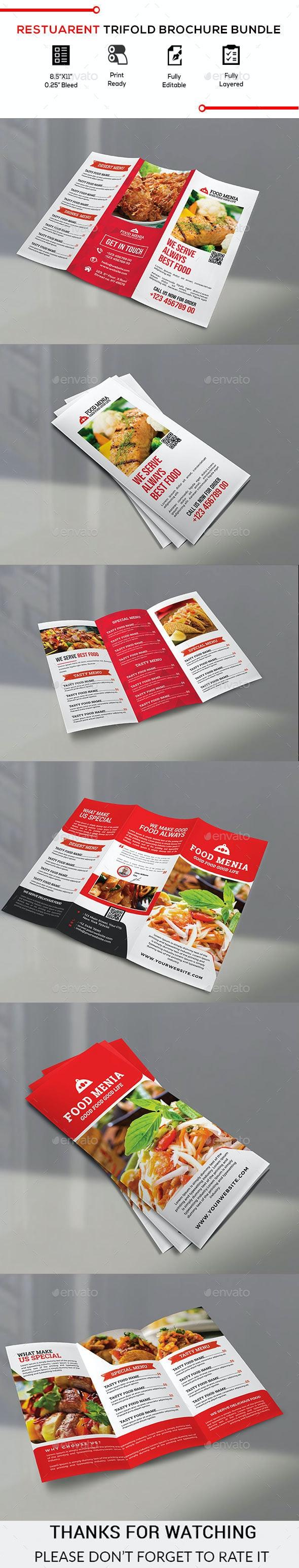 Restaurant Trifold Brochure Bundle - Brochures Print Templates