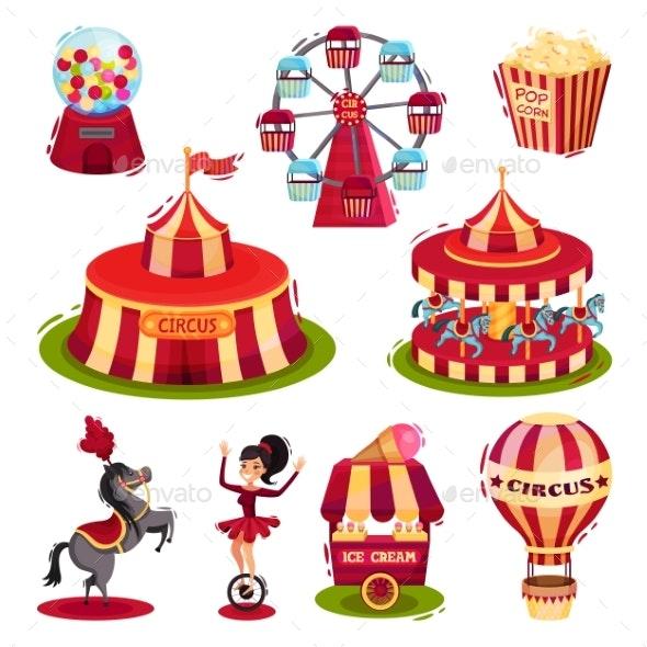 Flat Vector Set of Circus Icons - Miscellaneous Vectors