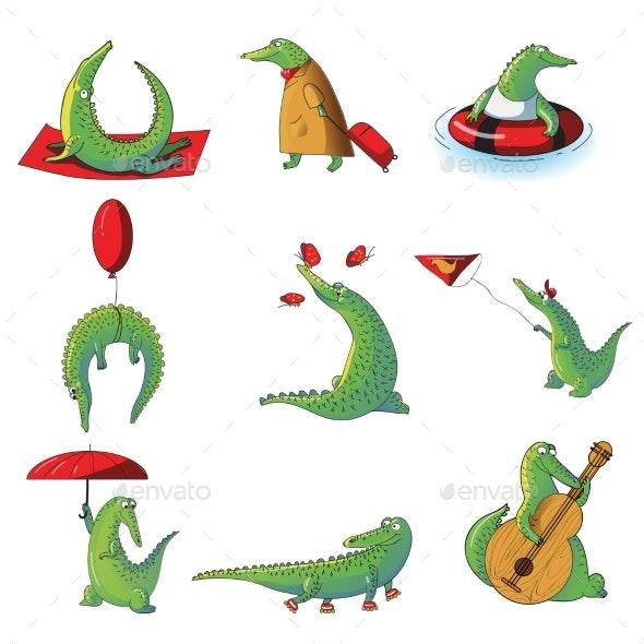Cartoon Vector Set of Humanized Crocodiles - Animals Characters