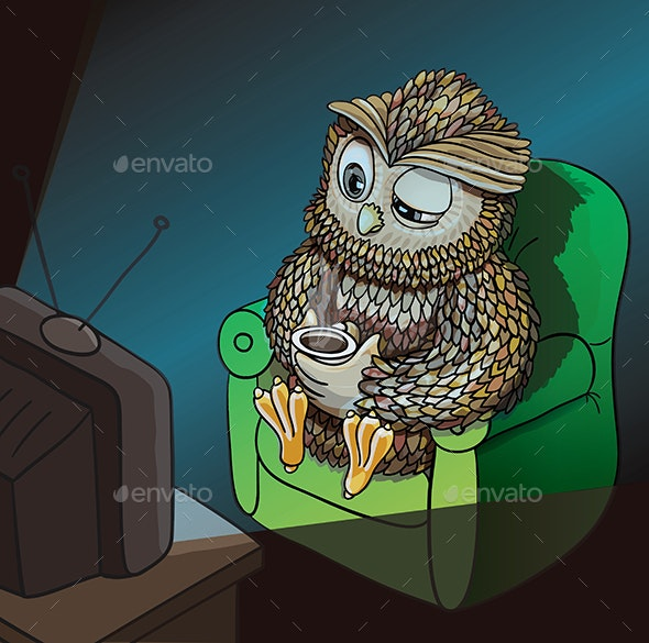 Sleepy Owl with Cup of Coffee - Animals Characters