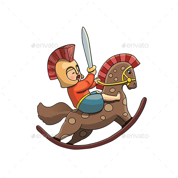 Spartan Kid Warrior on Rocking Horse - People Characters