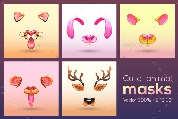 Cartoon Muzzles of Different Animals - Animals Characters