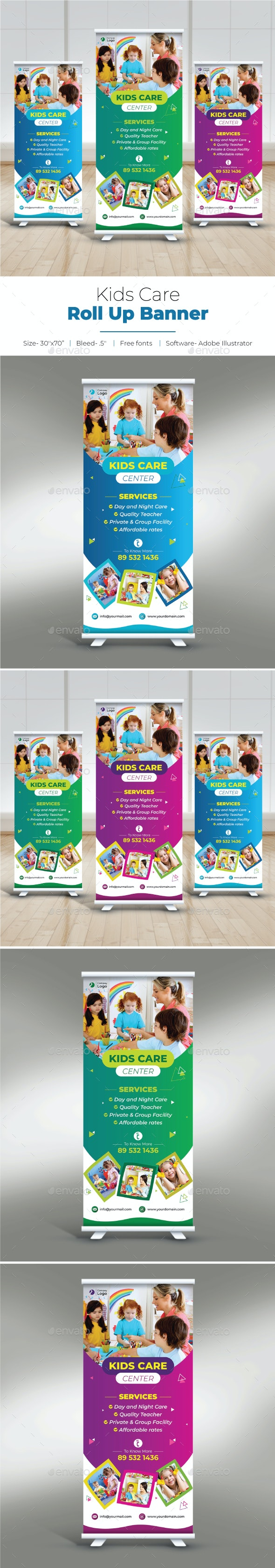 Kids Care Roll Up Banner - Signage Print Templates
