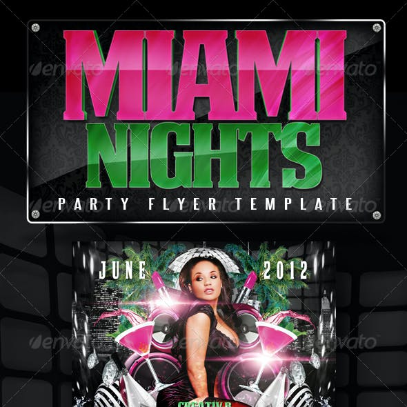 Miami Nights Party Flyer Template
